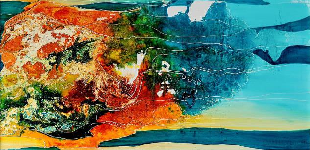 Obraz olejny na płótnie Planeta Myśli; autorstwa Anety Barglik