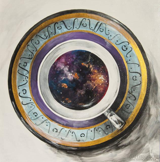 Obraz akrylowy na płótnie - Kosmos w mojej kawie autorstwa Marii Hulist
