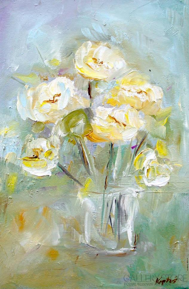 kwiaty w wazonie - obraz olejny na płótnie
