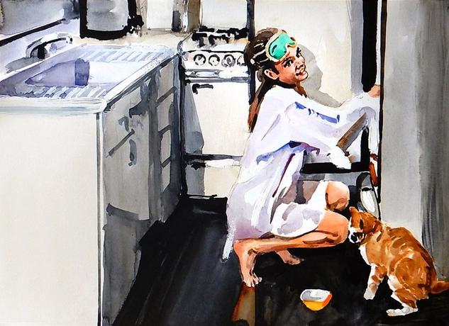 Marcin Kędzierski - Holly z kotem w kuchni