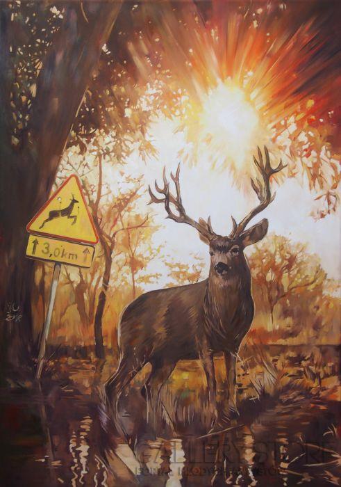 Janusz Orzechowski Deer - obraz olejny na płótnie